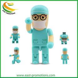 Custom пластиковые мультфильм врачей флэш-памяти USB 2.0 Драйвер, бесплатный образец карты памяти USB мультфильм медсестер форму