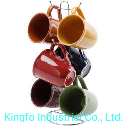 Металлические стальных хромированных 6 чашки кружки держатель дерева - Кружки держатель Rack-Jewelry Kfc11009