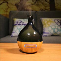 Et en bois du grain du bois Aroma Diffuseur d'huile essentielle avec sept LED de coloriage