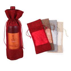 Großhandelsleinwanddrawstring-Wein-Geschenk sackt synthetischen Jutefaser-Wein-Flaschen-Beutel mit Organza-Fenster ein