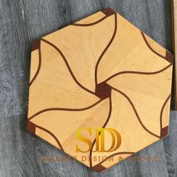 Китай деревянный пол принадлежности Гексагональный стиле из тикового дерева и паркетным полом панелей для гостиной