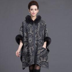 Diseño de moda de gran tamaño de la mujer Fox Faux Fur Mantón Collar Mayorista de chaqueta de abrigo abrigo del Cabo