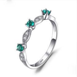 925 Silver l'éternité avec anneau vert et blanc et Pierre de zircone cubique Mode bijoux
