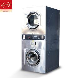 automatischer kundenspezifischer Selbstbedienung-doppelter Stapel Unterlegscheibe-Zange-Münzenbetriebentrockner des Edelstahl-15kg/Wäscherei/industrielle waschende Reinigungs-Maschine (GXD-SH)