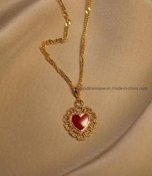 Jóias de 925 Sterling Prata ou Bronze pendente do coração e Colar Pendente Zircon cúbicos e Colar para Mulheres