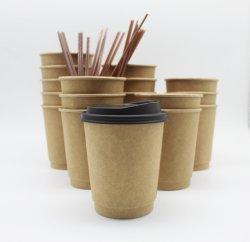 처분할 수 있는 최신 차 뚜껑을%s 가진 음료에 의하여 격리되는 두 배 벽 커피 종이 찻잔 컵