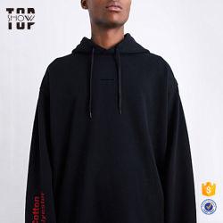 OEM моды популярных оптовая торговля черным обычной большой худи с вышивкой
