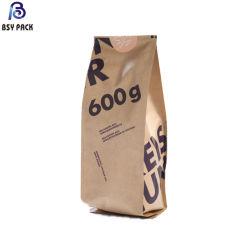 중국제 생물 분해성 음식 & 차 & 커피 포장을%s 주머니 Kraft 종이 또는 Pbat 부대를 위로 서 있으십시오