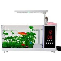 Nouvel ordinateur de bureau USB Noir/Blanc Mini Fish Tank Aquarium avec lampe à LED de lumière et d'horloge de l'écran LCD