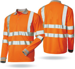 고가시성 100% 폴리에스테르 롱 세이브 버드 아이 피케 폴로 셔츠 작업복