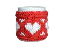 小型のアクセサリが付いているカスタマイズされたセーターの手袋の円形の陶磁器のマグ