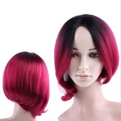 Rojo rizado peluca Cosplay peluca de cabello sintético pelucas delantera de encaje