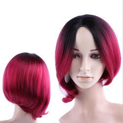 Red Curly Peruca Cosplay pêlos sintéticos Peruca Lace Cabeleiras Dianteiro