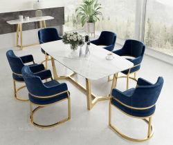 Mode Jeu de jambe d'or Table à manger avec fauteuil en tissu bleu marine
