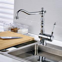 De chroom Opgepoetste Tapkraan van de Keuken van het Handvat van de Wartel van het Messing Ceramische