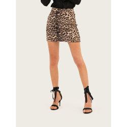 Leopard Toison d'impression de la hanche jupe courte serrée pour les femmes