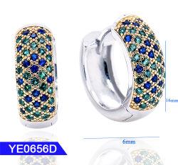 Nieuwe Juwelen 925 van de Manier van het Ontwerp de Echte Oorringen van de Hoepel van het Zirkoon van het Zilver of van het Messing Kleine Huggie Scharnierende voor Vrouwen