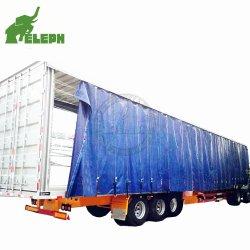 Aanhangwagen van het Gordijn van het Geteerde zeildoek van de Doos van de container de Zij Open Semi met Van Curtains voor het Droge Vervoer van de Lading stortgoed