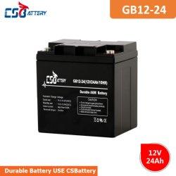 Batteria solare del AGM di memoria di Csbattery 12V24ah per Emergenza-Indicatore luminoso/Alarm/UPS/Solar/Golf-Car/Telecom/Inverter