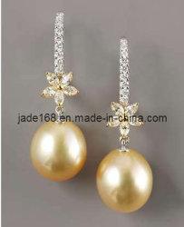 金真珠925の銀製のイヤリング(FPE-009)