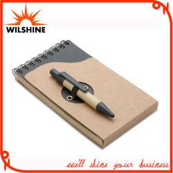 Het populaire Mini Spiraalvormige Notitieboekje van de Zak met de Gerecycleerde Pen van het Document (PNB082A)