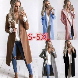 La mujer otoño los bolsillos de manga larga camperas abrigo Outwear Casual delgado