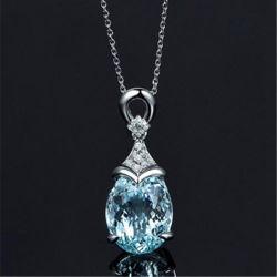 نساء طبيعيّة زبرجد حجر كريم 925 فضة كبّل مدلّاة عقد مجوهرات هبة