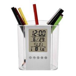 Escritório criativo multifuncional Relógio de Alarme de calendário eletrônico titular de caneta