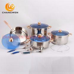 12 ПК из нержавеющей стали посуда с 7-ступенчатые капсула нижней части