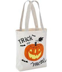 Comercio al por mayor de algodón natural Halloween Tote Bolsa de compras