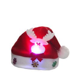 Kid/criança levou chapéu de Natal Santa Claus Renas Boneco Red Xmas acende a tampa de Natal