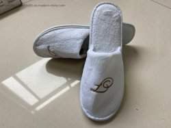 China Fabrikant Velour Terry Cloth Fabric Coffee Grey Disposable Slippers Hotel
