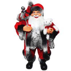 الصين موردين أزياء كبيرة قديمة عيد الميلاد ديكور بلاستيك 80 سم نويل يقف سانتا كلوز دولل في الملابس الملونة من القماش