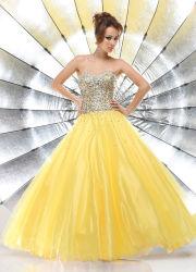 Shoulder Prom Evening Dressを離れた黄色いOrganza Crystal Beading Ball Gown Evening Dress Sweetheart