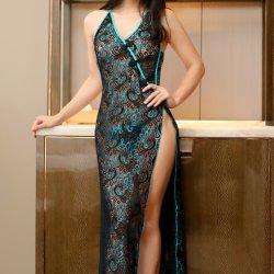 セクシーなランジェリーの女性のセクシーな透過網の孔雀の刺繍のレースの均一誘惑の長いスカートはホローバックに適する