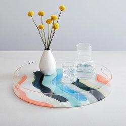 За Круглым столом для настольных ПК ясно акриловый фрукты продовольственной лоток декоративного органайзера пользовательских печатных Plexiglass Поднос
