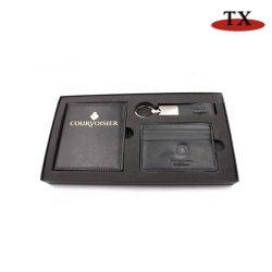 Insiemi del regalo di affari per il supporto di cuoio del passaporto/Keychain/la cassa carta di credito con il contenitore di vigilanza