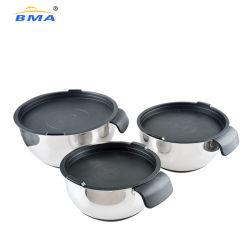 Utensili da cucina coperchio in silicone e fondo scodelle per torta insalata di miscelazione Recipiente stoviglie con manico