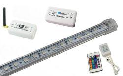 Forme de U Strip Light LED en alliage aluminium Barre rigide Bande LED Cabinet barre lumineuse à LED 60LEDs SMD5050 LED RVB de Strip Light Bar avec WiFi, Bluetooth, 24 contrôleurs de clé