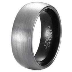 anelli placcati neri a cupola spazzolati opachi del tungsteno del IP di 8mm