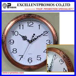 Orologio di parete di plastica rotondo del blocco per grafici di stampa Copper-Colored di marchio (Item20)