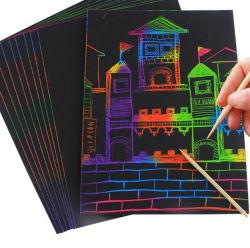 Het kladpapier scheept het Zwarte Met een laag bedekte Schilderen van het Stootkussen van de Krabbel van de Kunst voor Kinderen en Jonge geitjes in