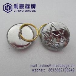 Custom 3D Bouton en laiton argenté avec anneau pour clés