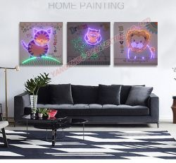熱い3PCSは光ファイバ(ないLED)明るい絵画遠隔コントローラが付いている現代ホーム装飾の絵画をセットする