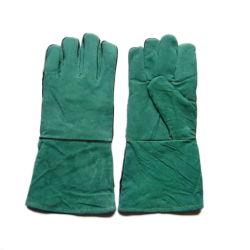 Cuoio spaccato dei guanti di saldatura della mucca verde del lavoro