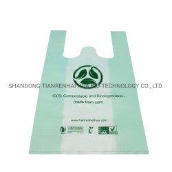 Bester Preis En13432 bestätigte kundenspezifische biodegradierbare Shirt-Einkaufstasche des Firmenzeichen-100% für das Verpacken