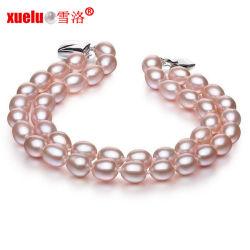 6-7mm double brins de lavande de forme ovale Perle de culture Naturelles bracelet, bijoux en perles