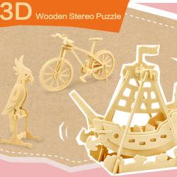 Brinquedos educacionais animais de madeira do enigma Jigsaw dos jogos DIY do volume do carro do inseto 3D das crianças