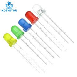 5 색깔 F3 3mm 둥근 LED 구색 장비 매우 밝은 물 공간 녹색 노랗고 파랑 또는 백색 또는 빨강 발광 다이오드