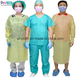 Marcação CE,ISO13485 esterilizadas impermeável amarelo/azul/SMS/PP/NONWOVEN vestido cirúrgica de protecção médica,visitante/exame/paciente,polegar vestido de isolamento descartáveis CPE de loop